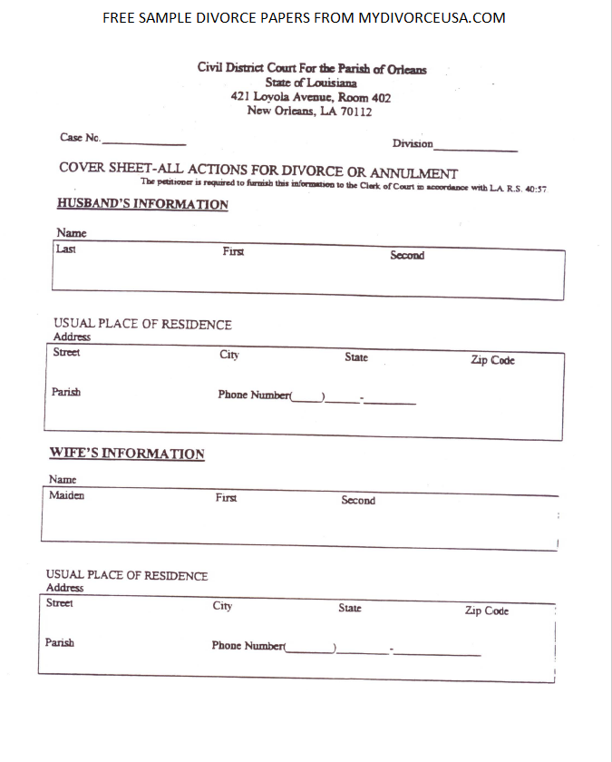 Printable Online Louisiana Divorce Papers & Instructions