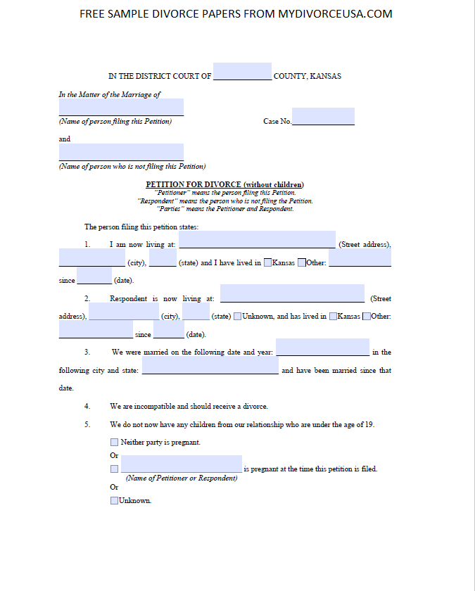 Printable Online Kansas Divorce Papers & Instructions