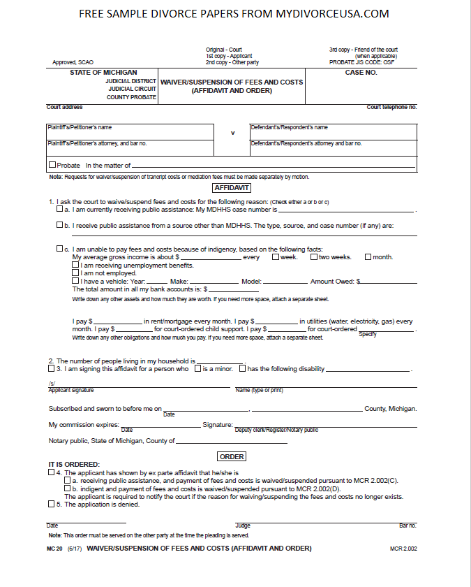 Printable Divorce Papers: Printable Online Michigan Divorce Papers & Instructions